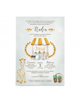 Invitatie de botez Sweet Giraffe