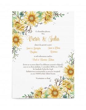 Invitatie de nunta Wrapped in Sunflowers