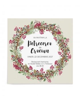 Invitatie de petrecere Christmas Wreath