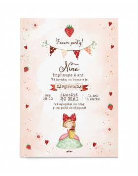 Invitatie zi de nastere Strawberry Darling