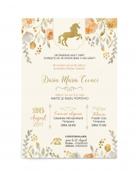 Invitatie de botez Sweet Unicorn