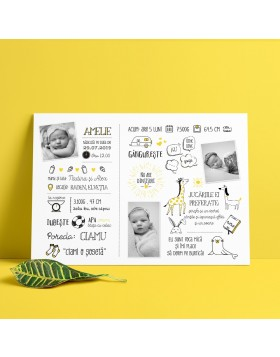 Panou Baby Facts Yellow Animals
