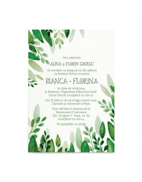 Invitatie de Botez Greenery Touch